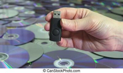 concept, vieux, mémoire, crosse, dvd, cd, discs.new, femme, ...