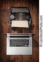 concept, vieux, ordinateur portable, progrès, technologie, machine écrire