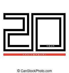concept, vingt, anniversaire, vecteur, conception, année, logo, 20, célébration