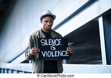 concept., violence, dehors, silence, signe, debout, noir, ...