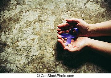 concept, violence, womans, pourpre, -, healthcare, conjugal, conscience, tenant mains, problème, ruban, social