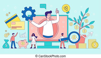concept, virtuel, aide, business