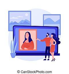 concept, virtuel, galerie, résumé, vecteur, illustration., tour