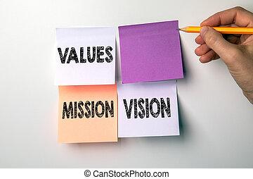 concept., visão, pegajoso, missão, valores, notas