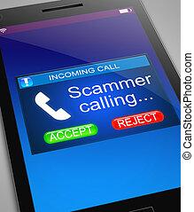concept., visiteur, scam