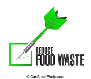 concept, voedingsmiddelen, verlagen, pijl, afval, ...