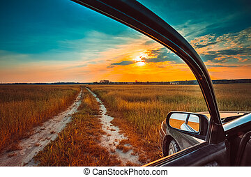 concept, voiture, fenêtre., liberté, rêve, vue