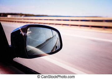 concept, voiture, voyage, fenêtre., liberté, vue
