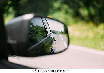 concept, voiture, voyage, fenêtre, miroir., vue