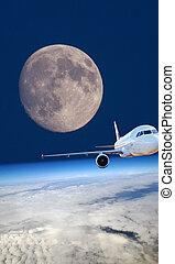 concept, vol, avion, espace