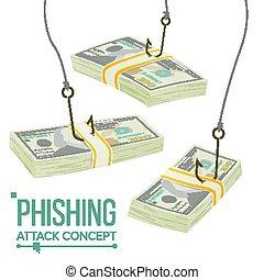 concept, vol, phishing, argent, protection., leakage, fraude, économique, illustration, vector., crisis., information., dessin animé