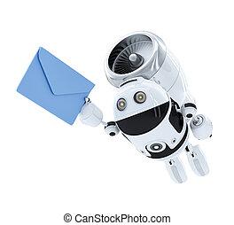 concept., voler, robot, livraison, e-mail, androïde, envelppe.