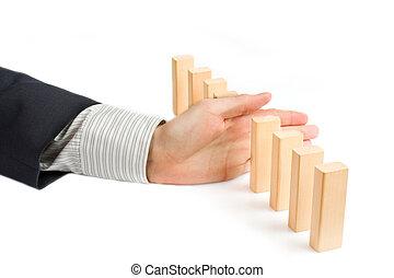 concept, voor, oplossing, om te, een, probleem, door, blokkeeren, de, dominoeffect