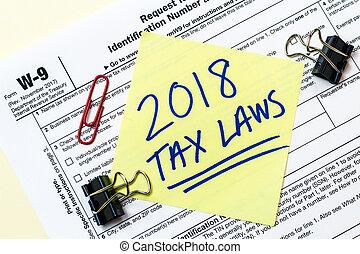 concept, vorm, federaal, belasting, 2018, w9, wetten