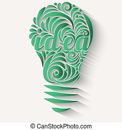 Concept vortex ideas in the form of green light bulb.
