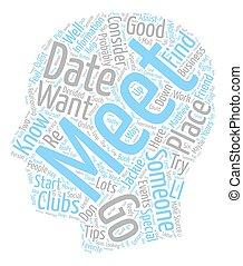 concept, vouloir, texte, wordcloud, quelqu'un, boîte, fond, date, rencontrer, où