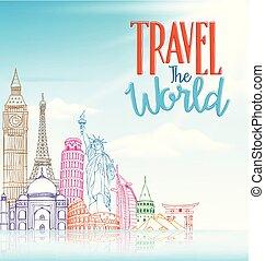 concept, voyage, célèbre, conception, fond, mondiale, dessin ligne, repères