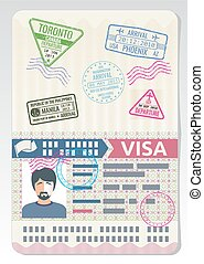 concept, voyage commercial, coutume, vecteur, stamps., passeport, ouvert, visa