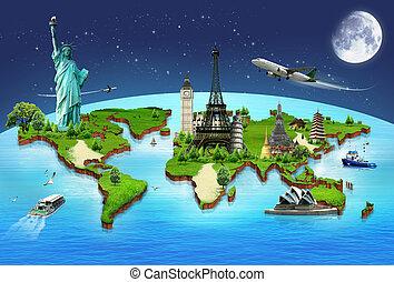 concept, voyage, mondiale, monuments