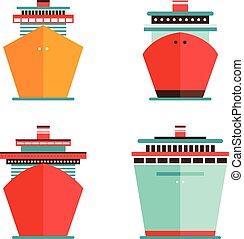 concept, voyage, paquebot, vacances, ensemble, mer, bateau croisière, océan, icône