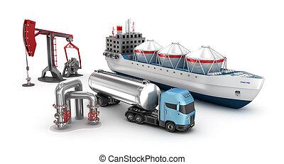 concept, vrijstaand, extractie, olie, witte , raffinage
