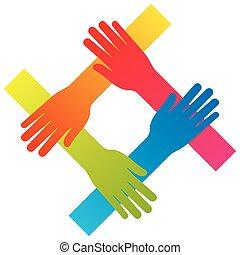 concept, vrijstaand, hand, vector, teamwork, populair, het verbinden, pictogram