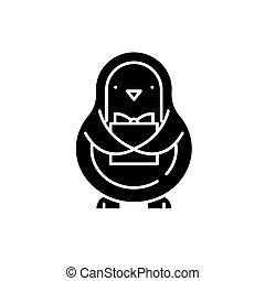 concept, vrijstaand, illustratie, meldingsbord, achtergrond., vector, black , pictogram, symbool, penguin
