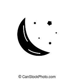 concept, vrijstaand, illustratie, meldingsbord, achtergrond., vector, black , pictogram, symbool, maan