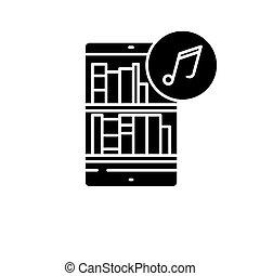 concept, vrijstaand, illustratie, meldingsbord, achtergrond., vector, boekjes , pictogram, black , symbool, audio