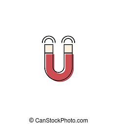 concept, vrijstaand, magneet, vector, achtergrond, witte , pictogram