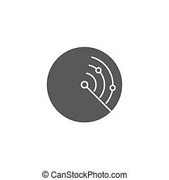 concept, vrijstaand, radar, vector, achtergrond, witte , pictogram