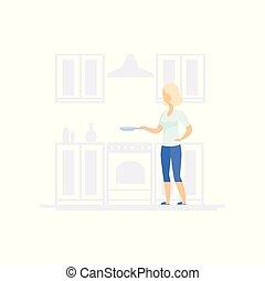 concept, vrouw, levensstijl, het koken van de familie, keuken, jonge, illustratie, vector, achtergrond, witte , blonde