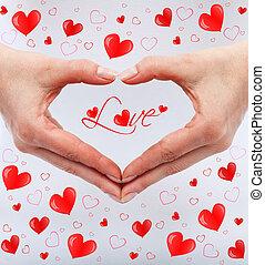 concept, vrouw, liefde, handen