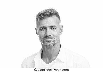 concept., włosy, patrząc, petycje, transakcja, dobrze, twarzowy, sklep, shampoo., grizzle, obrządził konia, hairdresser., ageing., model., anti, fryzjer, roots., jemu, szary, dojrzały człowiek, dobry, pociągający, hair., srebro