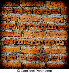 concept wall brick background, White cement floor cracked.