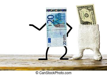 Concept weak dollar, strong euro