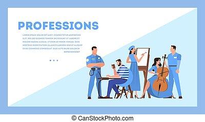 concept., web, occupazione, professione, disegno, bandiera, collezione