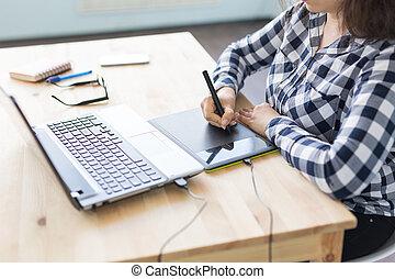 concept, web, schets, grafische kunst, -, op, zakelijk, vrouw, ontwerp, afsluiten, apparaat, gebruik, muis, pan