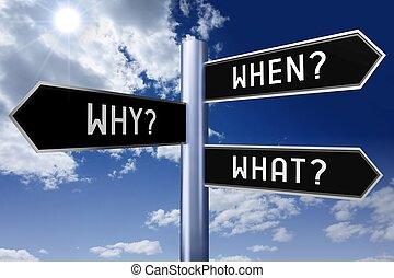 concept, wegwijzer, -, pijl, drie, vragen