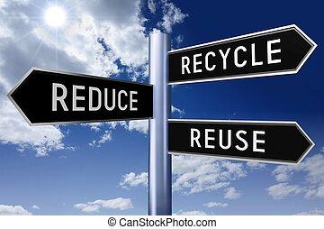 concept, wegwijzer, recycling, pijl, drie, -