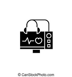 concept., wektor, czarne serce, symbol, płaski, ikona, znak, echocardiogram, illustration.