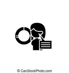 concept., wektor, czarnoskóry, diagram, objaśnienie, symbol, płaski, ikona, znak, illustration.