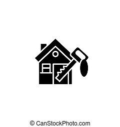 concept., wektor, czarnoskóry, dom, symbol, klawiatura, ikona, płaski, znak, illustration.