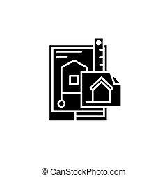 concept., wektor, czarnoskóry, gmach, symbol, płaski, ikona, znak, projektować, illustration.