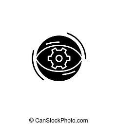 concept., wektor, czarnoskóry, projekt, symbol, płaski, focusing, ikona, znak, illustration.