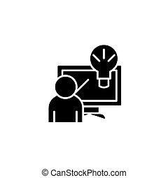 concept., wektor, czarnoskóry, rozłączenie, symbol, innowacyjny, płaski, ikona, znak, illustration.