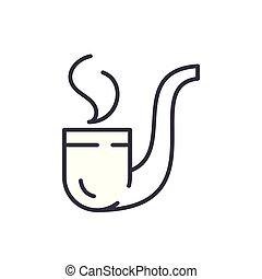 concept., wektor, czarnoskóry, rura, symbol, płaski, ikona, znak, palenie, illustration.