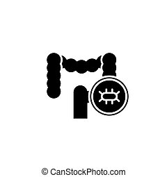 concept., wektor, czarnoskóry, symbol, egzamin, jelito, płaski, ikona, znak, illustration.