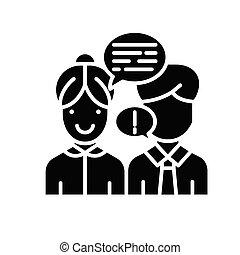 concept., wektor, czarnoskóry, symbol, interlocutor, płaski...