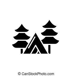 concept., wektor, czarnoskóry, symbol, obozowanie, ikona, płaski, znak, las, illustration.
